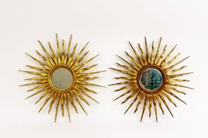 Pair of French Gilt Wood Starburst Mirrors
