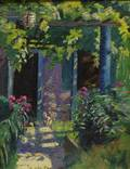 Attributed to Anne Cary Bradley American 18841956 View of a White Cat Beneath an Arbor
