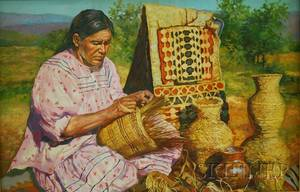 20th Century Native American School Oil on Canvas Depicting a Woman Making Baskets