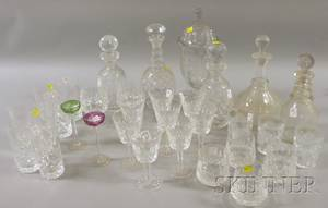 Approximately Twentyone Pieces of Waterford Colorless Cut Glass Liquor and Stemware with Four Colorless Glass Decanters a Set of T