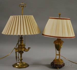 Brass Lucerne Table Lamp and a French Giltmetal UrnTable Lamp with Marble Base