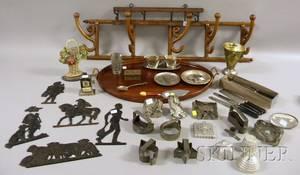 Two Wallmount Coat Racks Oval Mahogany Tray and Group of Metal Items