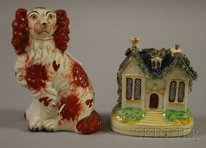 Staffordshire Seated Spaniel Figure and a Cottageform Still Bank