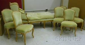 Set of Six Louis XV Style Upholstered Carved Beechwood Side Chairs and a Chaise Longue