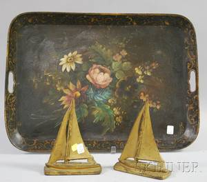 Gilt and Floralpainted Tin Tray and a Pair of Goldpainted Brass Sailboat Bookends