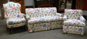 Floral Cotton Upholstered Settee Armchair and Queen Anne Style Wing Chair