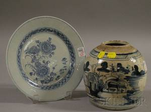 Japanese Blue and White Floraldecorated Porcelain Plate and a Chinese Porcelain Ginger Jar