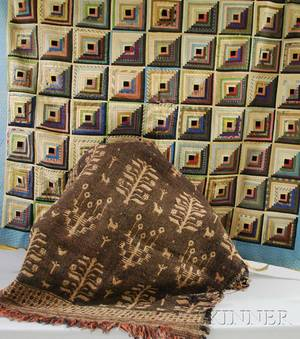 Pieced Silk Log Cabin Quilt and a Woven Wool Blanket Segment with Ethnic Designs