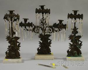 Threepiece Brass Figural Girandole Set with Prisms