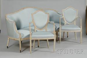 ThreePiece Louis XVI Style Upholstered Whitepainted Carved Wood Seating Group