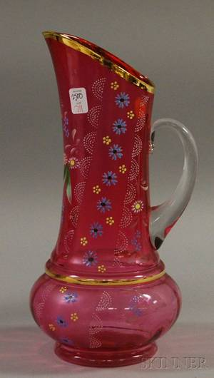 Large Gilt and Enamel Decorated Cranberry Art Glass Pitcher