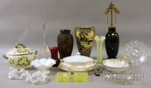Seven Pieces of Assorted Decorated Ceramics and Eleven Pieces of Assorted Art Glass and Tableware