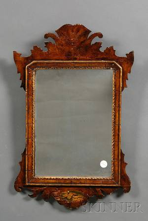 Chippendalestyle Mahogany Parcelgilt and Paintdecorated Small Mirror