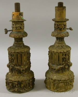 Pair of Victorian Molded and Cast Brass Table Lamp Bases
