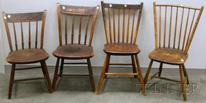 Pair of Painted Thumbback Arrowback Side Chairs and Two Windsor Rodback Side Chairs