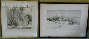 Lot of Two Etchings by Kerr Eby American 18891946 Drifting snowy landscape