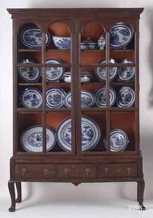 English Queen Anne burlwood display cupboard mid 18th c