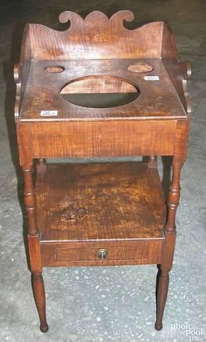 New England Sheraton tiger maple washstand ca 1820