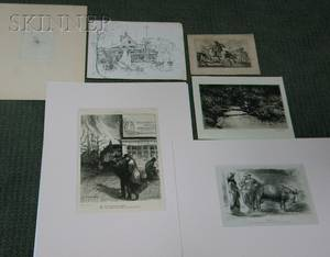 Lot of Six Works on Paper Lester George Hornby American 18821956 The Trout Brook