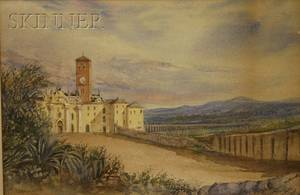 Sarah Hodges Swan American 18251910 Lot of Five Italian Views Including the Villa Wollkonsky Grand Canal View of Abbey San Pi