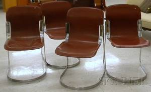 Set of Four Italian Leather and Chromed Metal Stacking Chairs