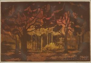 Lot of Two Prints Jan Ehrenworth American 20th21st Century Forest