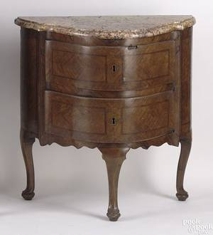 Pair of Queen Anne rose marble top commodes mid 18th c