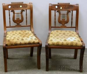 Pair of Classical Carved Mahogany Lyreback Side Chairs