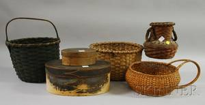 Two Shaker Oval Wooden Finger Lapsided Covered Boxes and Four Woven Baskets
