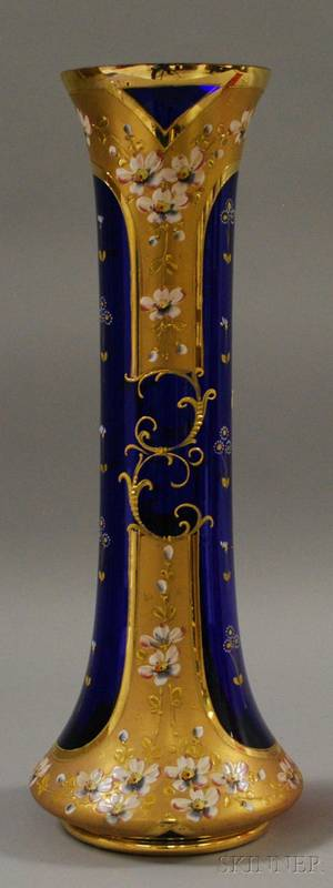 Large Gilt and Enamel Decorated Cobalt Glass Vase