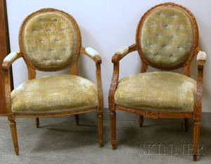 Near Pair of Louis XVI Style Upholstered Carved Beechwood Fauteuils