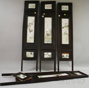 Small Chinese Export Hardwood Framed Decorated Porcelain Panel FourPart Folding Screen