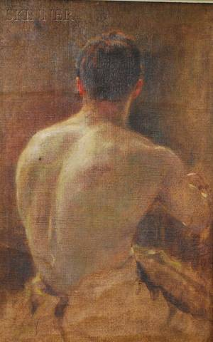 American School 20th Century Portrait Study of a Male Nude