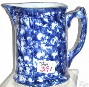 Blue sponge Rockingham pitcher ca 1880