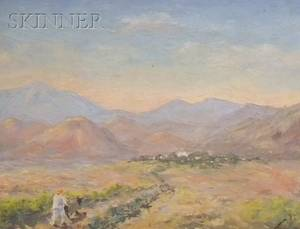 American School 20th Century Desert Landscape with Figure and Mule
