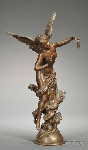 Mathurin Moreau French 18221912 Bronze Figure of an Angel Corne DAbondance