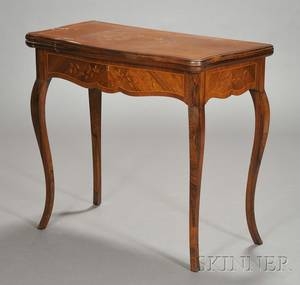 French Marquetry Inlaid Rosewood Game Table