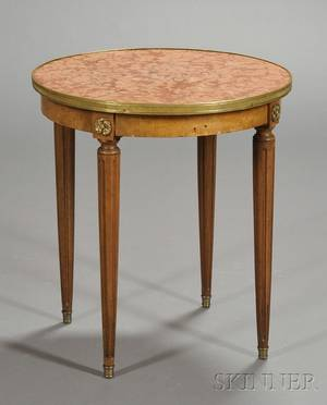 Louis XVI Style Bronzemounted Mahogany and Marbletop Circular Occasional Table