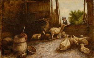 H Munroe American or English 19th Century The Sheep Barn