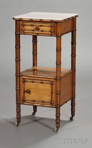 Victorian Faux Bamboo and Marbletop Plant Stand