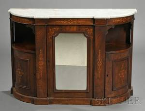 Victorian Marquetry Inlaid and Marbletop Walnut Credenza