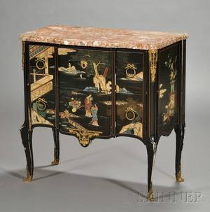 Louis XVXVI Style Coromandel Lacquer and Marbletop Twodrawer Commode