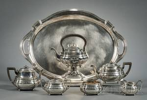 SixPiece Gorham Sterling Tea and Coffee Service with Associated Sterling Tray