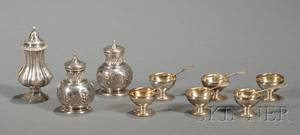 Three Sterling Casters and Set of Six Sterling Open Salts