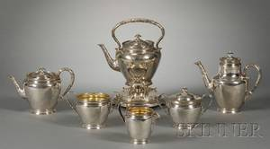 FivePiece Gorham Sterling Tea and Coffee Service with a Matching Kettle on Stand