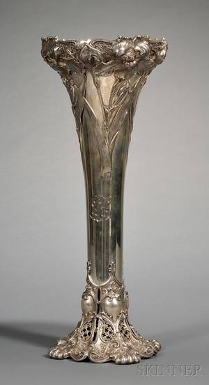 Monumental Whiting Manufacturing Co Sterling Art Nouveau Floor Vase