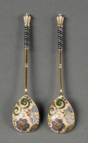 Pair of Russian Silver and Enamel Teaspoons