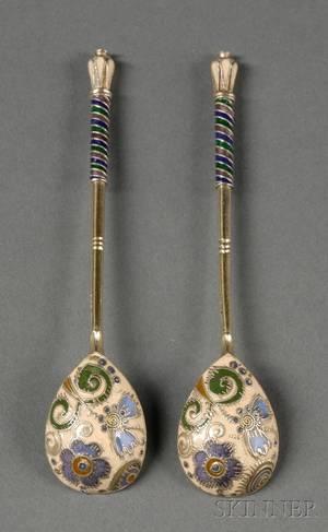 Pair of Russian Silver and Enamel Teaspoons