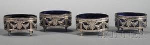 Set of Four Louis XVI Silver and Cobalt Glasslined Open Salts