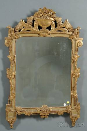 Italian Neoclassical Painted and Parcel Gilt Mirror